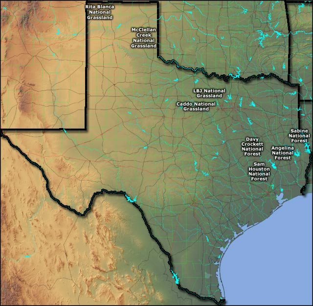 Locations of the US Forest Service units in Texas