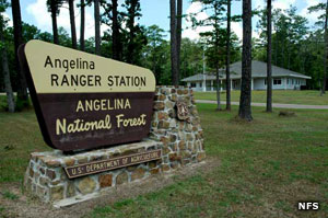 Entry sign at Angelina National Forest