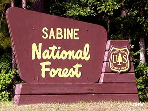Entry sign for Sabine National Forest