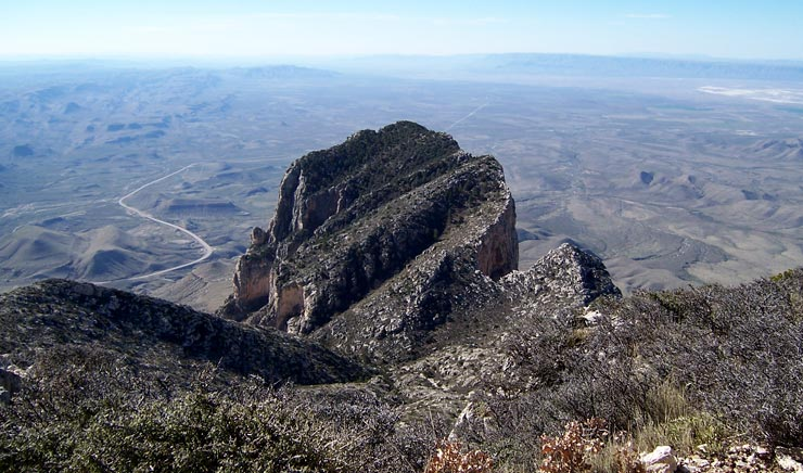 The summit block of El Capitan from the summit of Guadalupe Peak