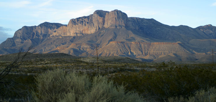 El Capitan in front of Guadalupe Peak in the Guadalupe Mountains of West Texas