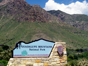 Entrance sign at Guadalupe Mountains National Park