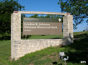 The entry sign for Lyndon B. Johnson National Historical Park