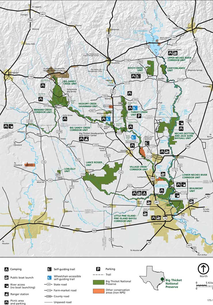 A map of Big Thicket National Preserve
