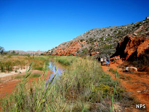 Hiking along the Canadian River at Lake Meredith National Recreation Area