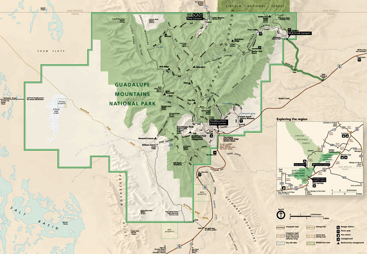 Map of Guadalupe Mountains National Park