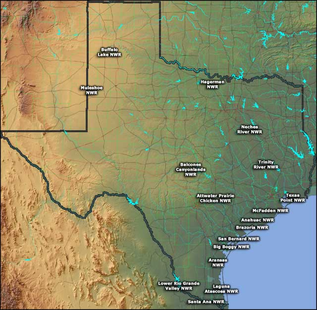 Map showing the locations of the National Wildlife Refuges in Texas