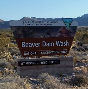 Sign marking Beaver Dam Wash National conservation Area