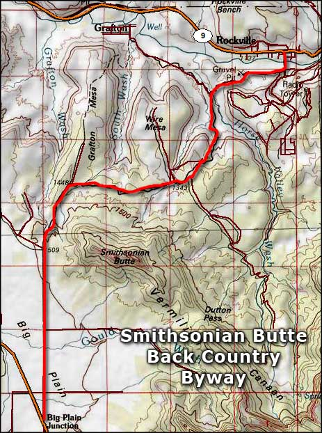 Smithsonian Butte Backcountry Byway map