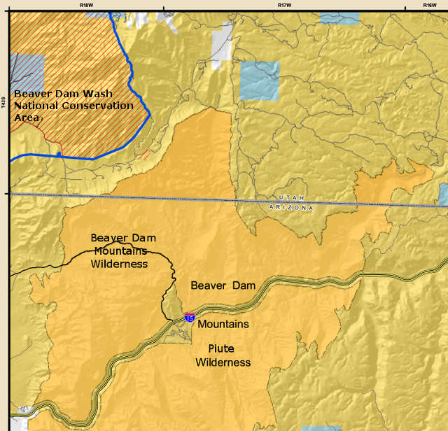 Map of the Beaver Dam Mountains Wilderness area