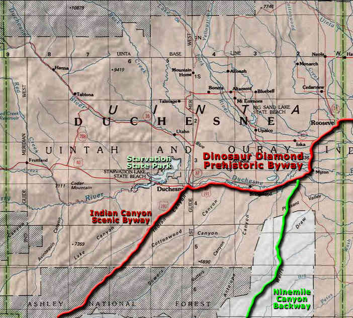 Map of the Duchesne County, Utah area