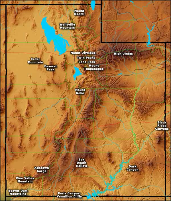 Map of Utah's Wilderness Areas