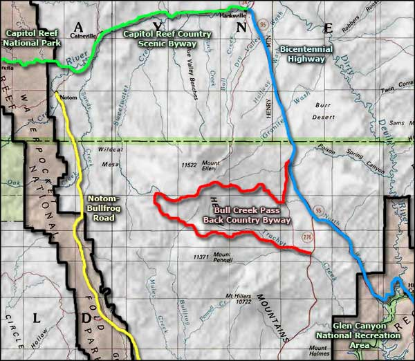 Bull Creek Pass Backcountry Byway area map