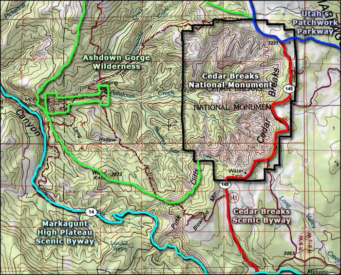 Cedar Breaks Scenic Byway area map