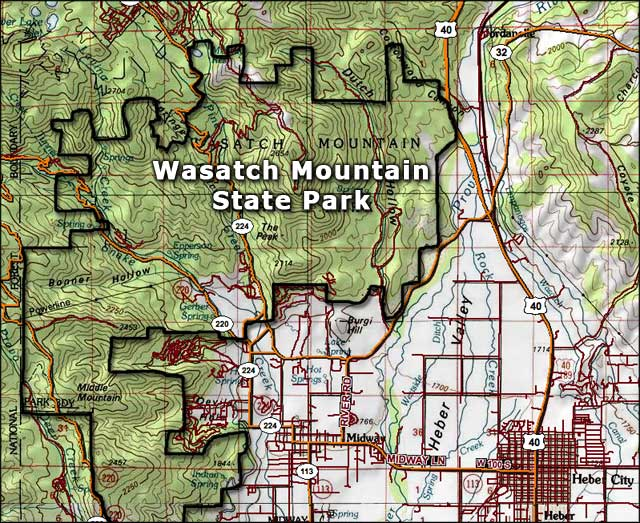 Wasatch Mountain State Park map