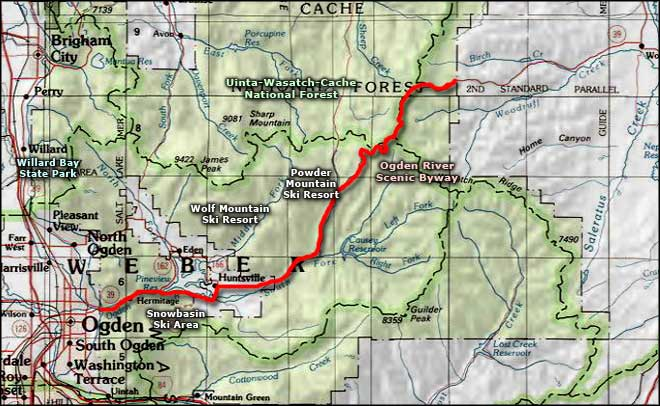 Ogden River Scenic Drive area map