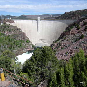 Looking at Flaming Gorge Dam from the downstream side