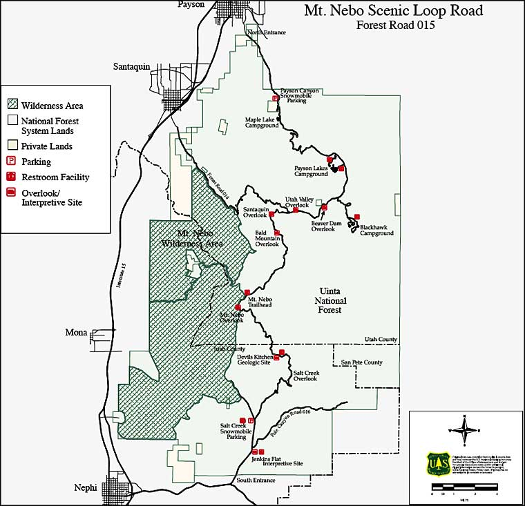 Map of the Nebo Loop Scenic Byway
