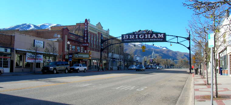 The Welcome sign in Brigham City, Utah