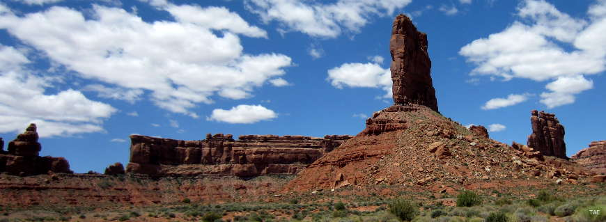 Some of the red sandstone spires, pillars and cliffs in the Valley of the Gods