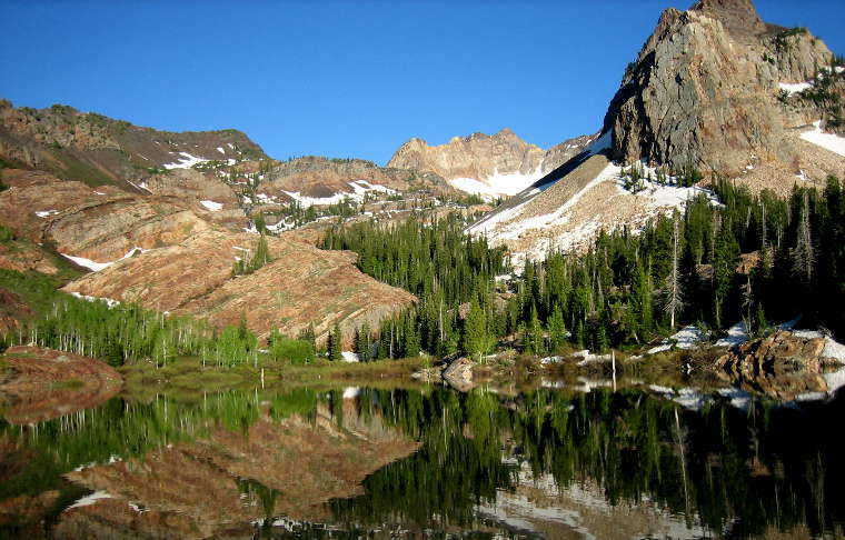 Sundial Peak rises above Lake Blanch along the Big Cottonwood Canyon Scenic Byway