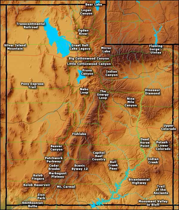 Map of Utah Scenic Byways
