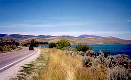 Driving along the shore of Bear Lake on the Bear Lake Scenic Byway