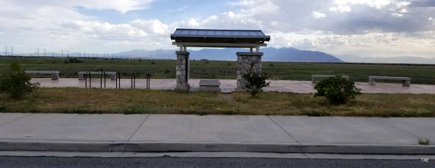 A bicycle gathering pavilion along the Great Salt Lake Legacy Parkway