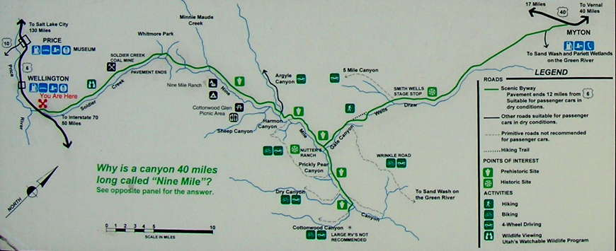 Map of the Ninemile Canyon Backway area
