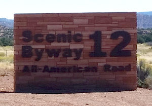 The Highway 12 Scenic Byway sign near Torrey