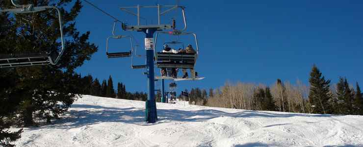 Riding a lift at Beaver Mountain Ski Resort