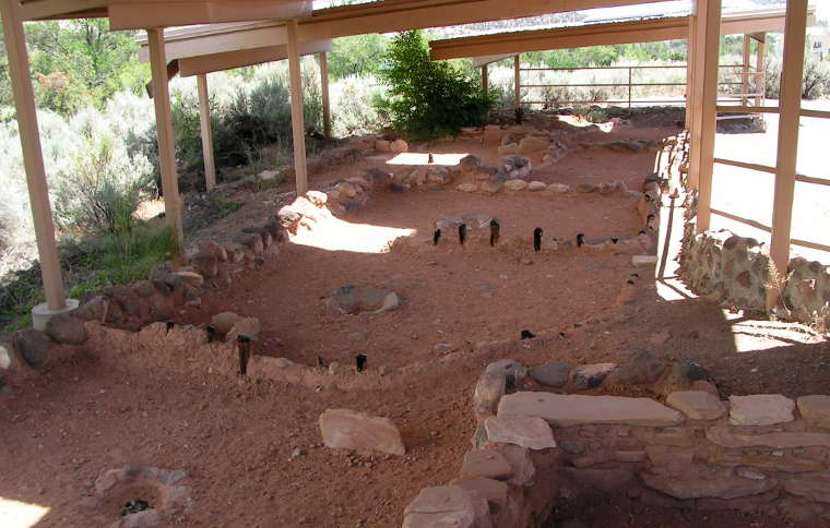 Remains of an Anasazi village at Anasazi State Park Museum