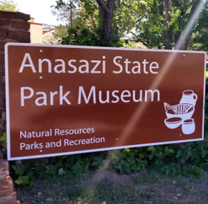 Entry sign at Anasazi State Park Museum
