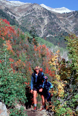 Hikers on Monument Trail, off the Nebo Loop Scenic Byway