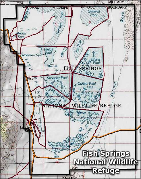 Fish Springs National Wildlife Refuge map