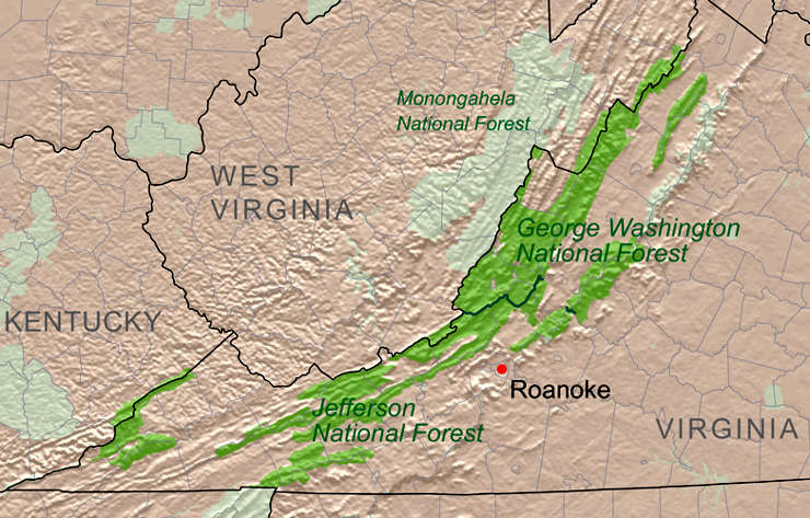 Relief map of George Washington and Jefferson National Forests