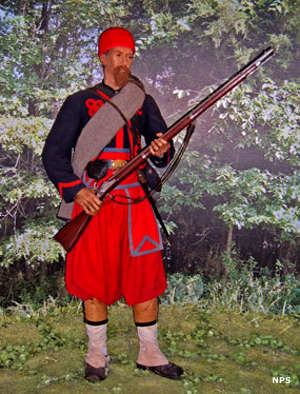 A New York Zouave soldier in uniform