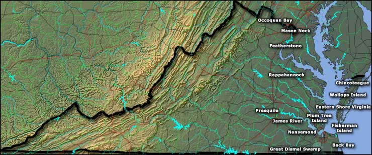 Map of the National Wildlife Refuges in Virginia
