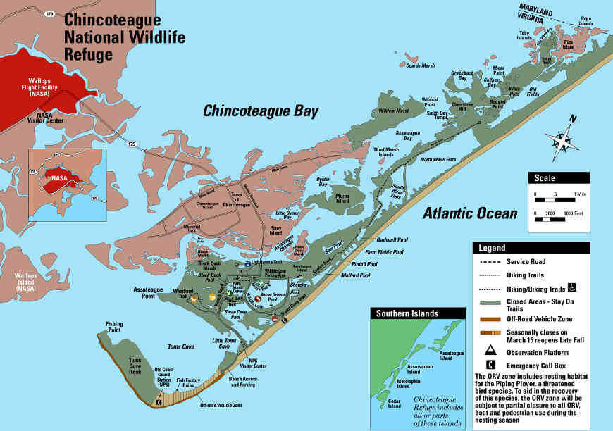 Map of the Chincoteague National Wildlife Refuge area