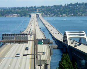 The famous floating bridges of Interstate 90