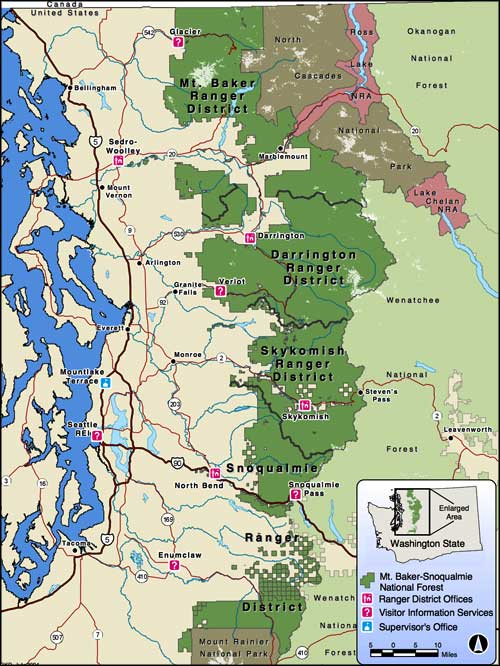 Map of Mount Baker-Snoqualmie National Forest