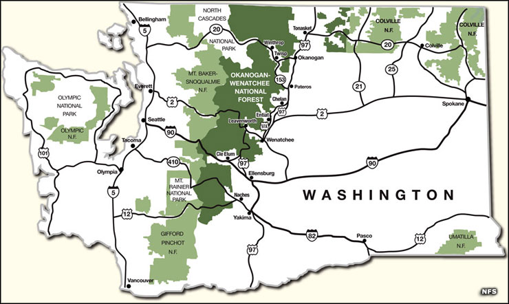Locations of the US Forest Service properties in Washington