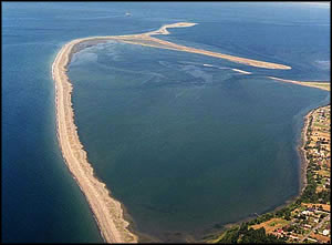 An aerial view of Dungeness Spit, Dungeness National Wildlife Refuge