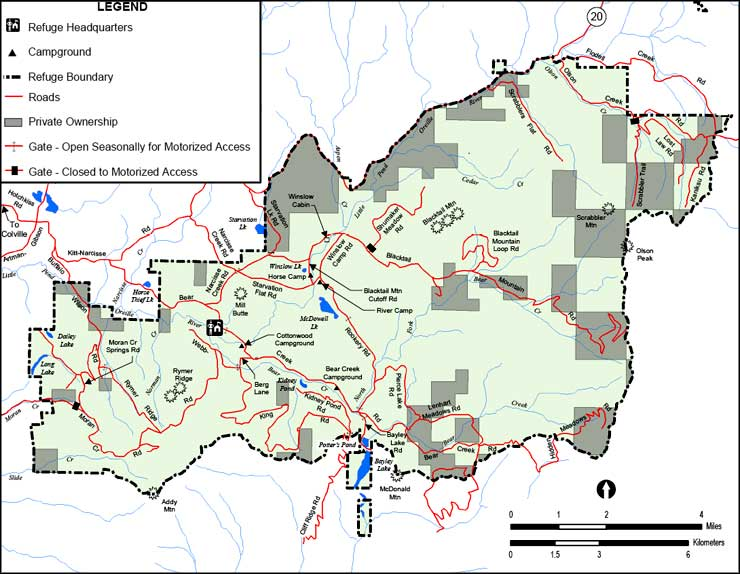 Map of Little Pend Oreille National Wildlife Refuge