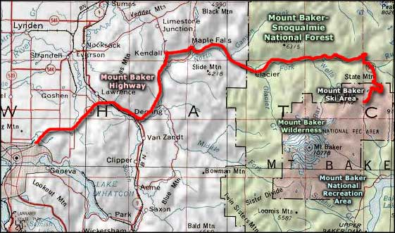 Mount Baker Highway area map