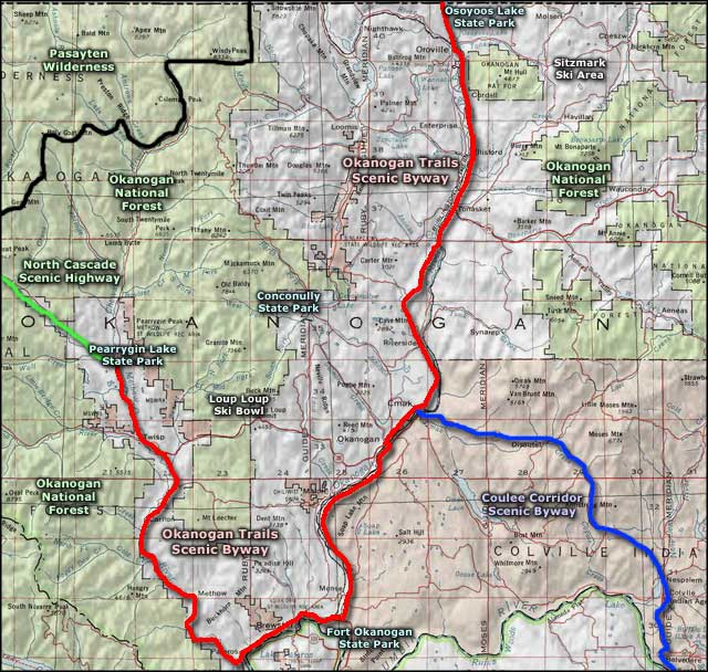 Okanogan Trails Scenic Byway area map