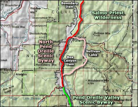 North Pend Oreille Scenic Byway area map