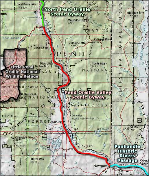 Pend Oreille Valley area map