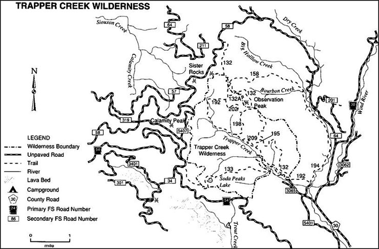 Hiking trails in the Trapper Creek Wilderness area