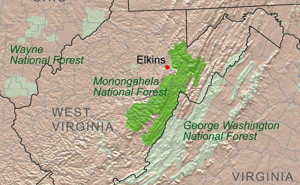 Relief map of the West Virginia National Forests